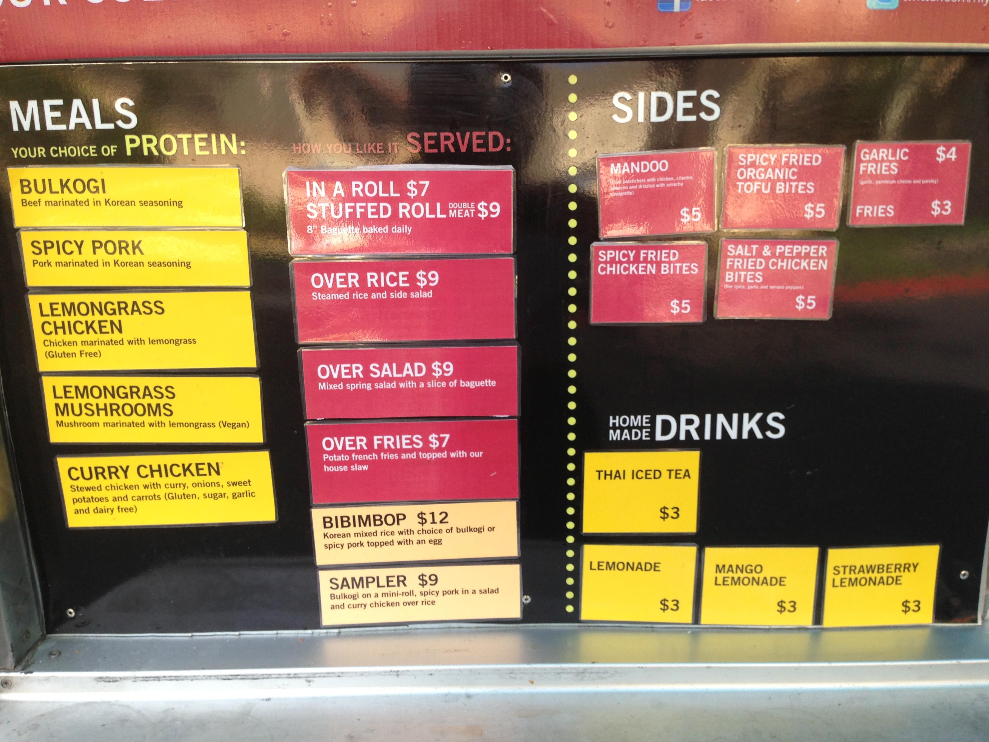 Hiyaaa Food Truck Menu