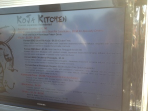 Koja Kitchen menu