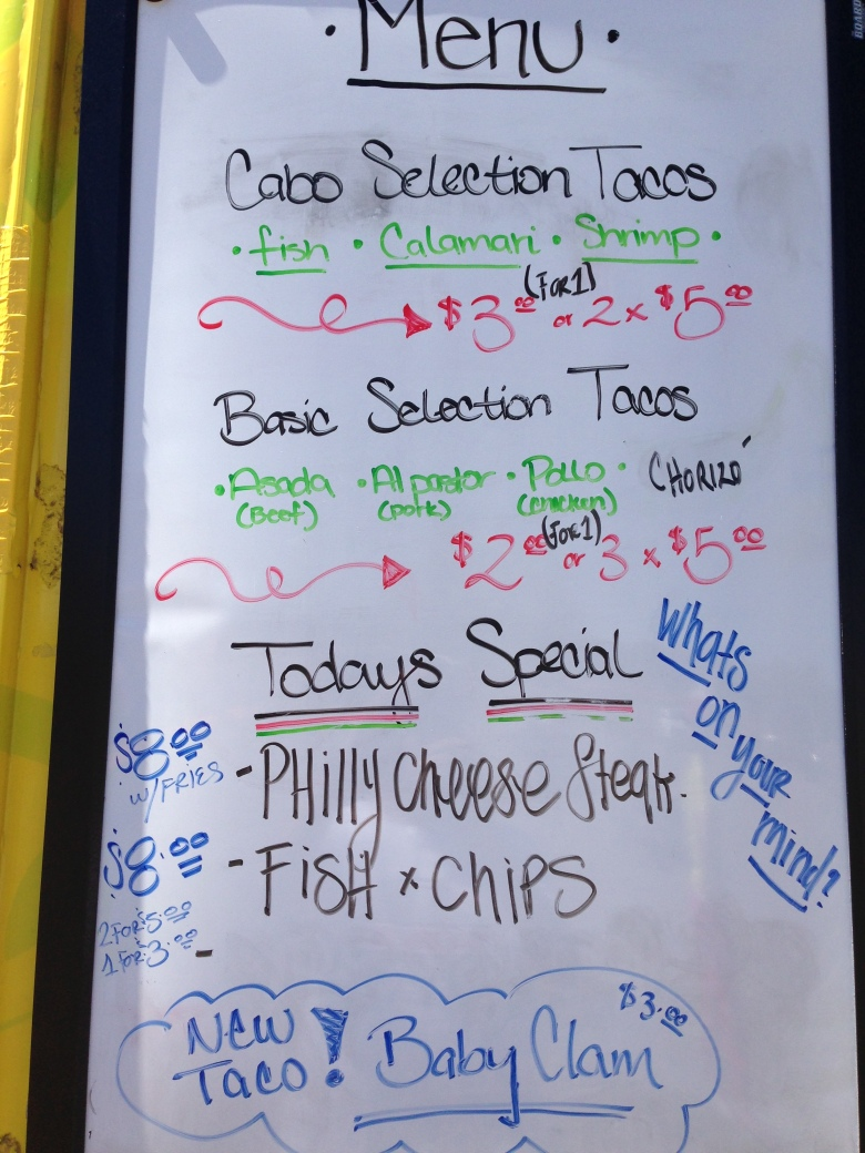 Fish taco wabo menu best food trucks bay area for Fish taco menu