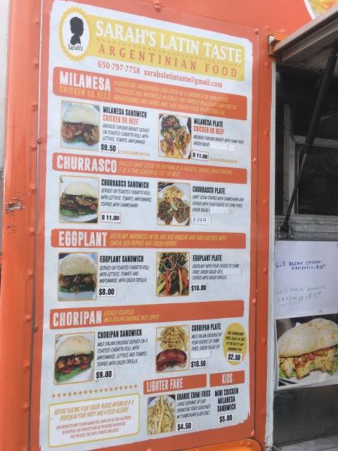 Sarah's Latin Taste menu