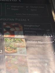 Mozzeria menu